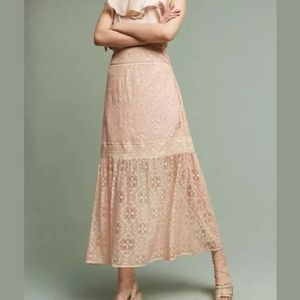 Anthropologie Queen & Pawn Pink Lace Maxima Skirt